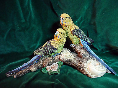 Two Lovely Yellow & Blue Parakeets Resin Figurine Life Size -o4