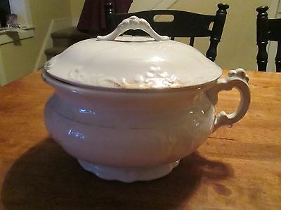 "Etruria Mellor & Company Chamber Pot White With Gold""  1880'S TO 90'S"