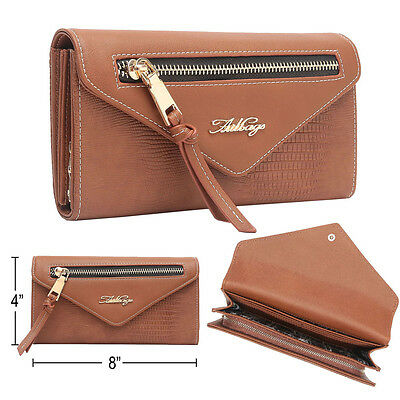 Aitbags Womens Envelope Leather Wallet Smartphone Card Holder Clutch Long Purse