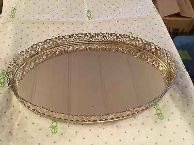 Old vintage Oval mirrored vanity tray