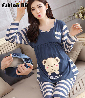 Pregnant Nursing Clothes Maternity Striped Pyjama Set Breastfeeding Sleepwear