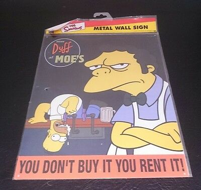 The Simpsons metal wall sign - You don't buy it you rent it- Original packaging