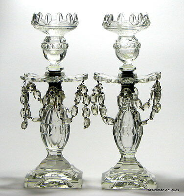 A Pair of Victorian Cut Glass Lustres c1850