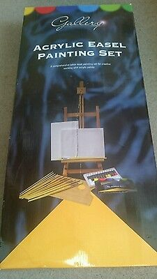 Easel Acrylic Paints Brushes Wooden Palette Artists set boxed