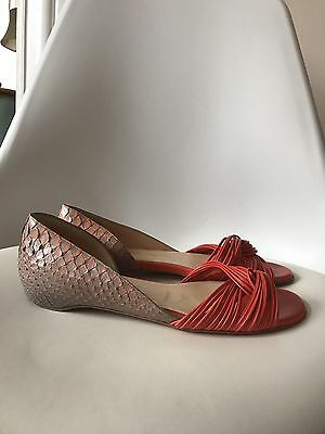 Louboutin Python Leather Flat Shoes, Sandals  Size 39. 100 % Authentic