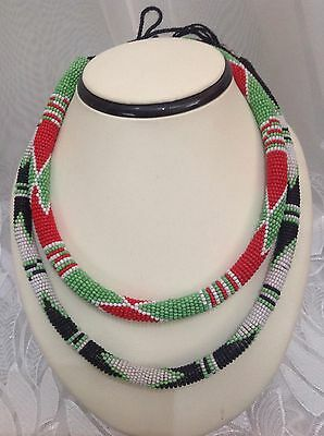 Vintage Ethnic Tribal African Beaded Choker Necklace