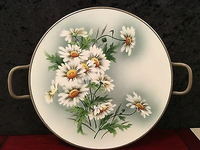 Antique/Art Nouveau Hand Painted vitreous porcelain Round serving Tray