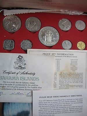 Bahamas 1973 9 Coin Proof Set Boxed with COA 4 coins are silver by Franklin Mint