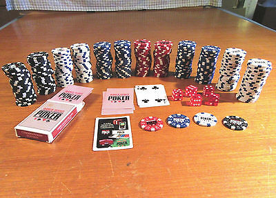World Series Poker Game Pieces - Poker Chips, Dice, Cards - Hardly Used