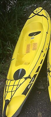 "bic sport ""bilbao"" kayak, folding wall storage bracket and water proof deck bag"
