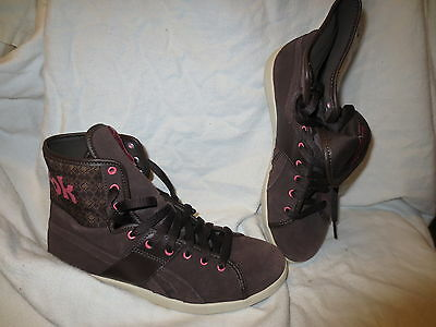 Reebok brown suede high top w pink   tweed pattern sz 7.5 mens 9 wms SAMPLE 45ac76b89