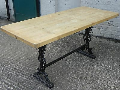 Vintage Rustic Cast Iron Pine Topped Dining Table