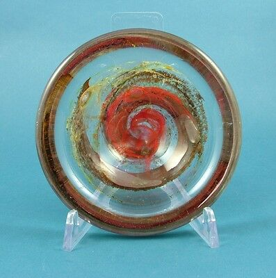 1970s Isle of Wight Small Red Brown and Green Glass Bowl with Flame Pontil Mark