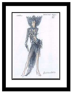"""Classic Cher Costume Sketch by Hugh Durrant Matted 11""""x14"""" ~Rare~Collectors Item"""