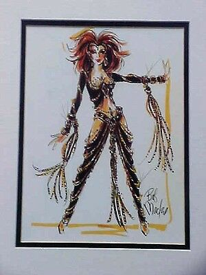 """Classic Cher Costume Sketch by Bob Mackie Matted 11""""x14"""" ~Rare~ Collectors Item!"""