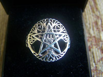 Sterling Silver Tree of Life Pentagram Ring - Size N - New