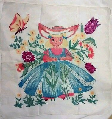 Vintage Womens Handkerchief Dutch Girl Floral Butterfly Cotton