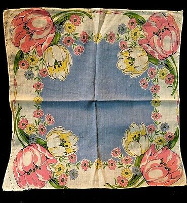 "ANT French PRINT HANDKERCHIEF with Lovely TULIPS. SO PRETTY! 11.5"" x 11.5"""