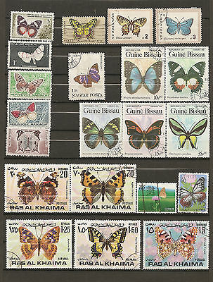 21 timbres papillons lot3