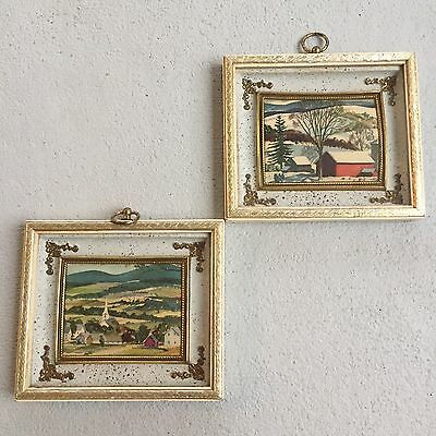 """Two 2 Antique Vintage Picture With Frame 7"""" x 8"""" Landscape"""