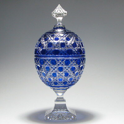 Large French Blue Cased Glass Covered Urn