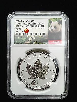 2016 $5 Canada 1 Oz Silver Maple Leaf Ngc Pf70 Panda Privy First Releases Fr