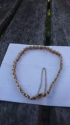 Ladies 9ct yellow and white gold diamond tennis bracelet good condition