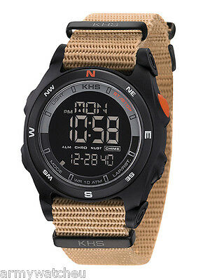 KHS Tactical Watch Sentinel DC Digital Compass Alarm Chronograph Light Army Band