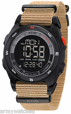 Mens Military Sports LED Digital Alarm Compass Date Quartz Light Army KHS Watch