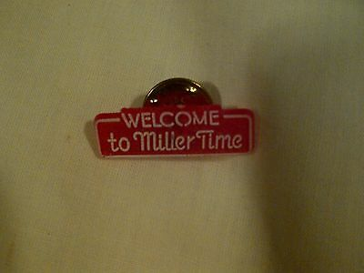 Vintage Welcome To  Miller Time Beer Tie Lapel Tac Pin Plastic metal holder