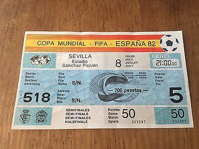 Entrada Ticket Mint Unused World Cup Spain 1982 Germany France Match 50