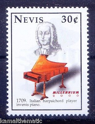 Nevis MNH, Invention Piano by Italy s Harpsicord Player 1709, Music Instrument