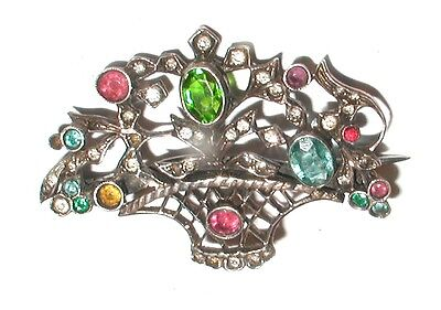 """Art-Deco Solid Silver Giadonetto Paste Set Brooch"" Circa 1920"