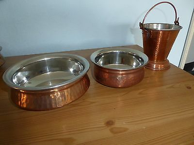 2 Bowls & Bucket. Hammered copper.  Unboxed but VGC