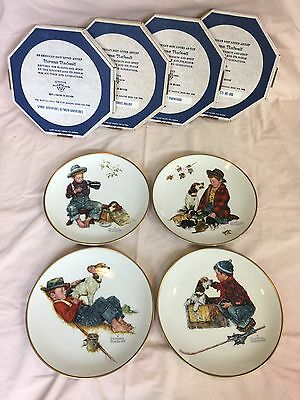 Gorham Norman Rockwell Limited Edition Four Seasons Plate Set 1971