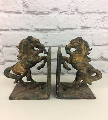 Victorian Heavy Cast Iron Horse Designed Book Ends.