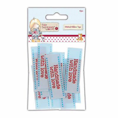 New DoCrafts Tillly Daydream Stitched Ribbon Tags x 10