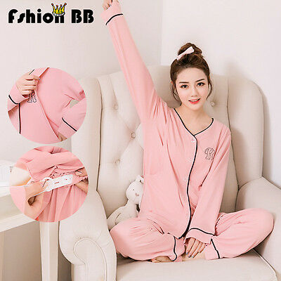 Women Maternity Nursing Sleepwear Pajamas Nightie  Breastfeeding Set Plus Size
