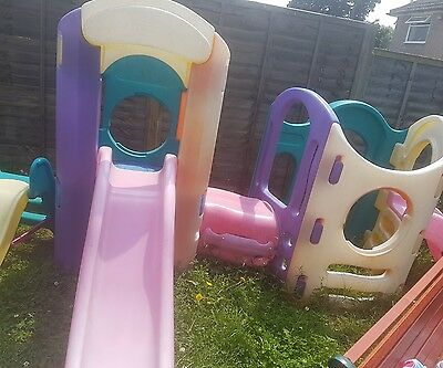 little tikes climing frame with tunnel and slides + extra slide