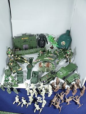Bundle Of Toy Plastic Army Figures, Planes, Building and Jeeps etc