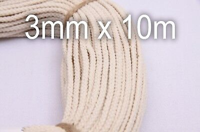 3mm x 10m (11yds) Macrame Cord - 100% Natural Braided Rope for Hanging Planters