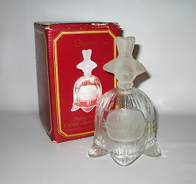 Goebel Mother's Day Crystal Bell 1980 Frosted Glass Bird Handle Boxed + Label