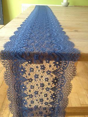 1 Blue Finest Vintage Style Lace Wedding Decoration / Table Runner
