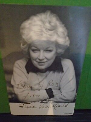 Original Hand Signed June Whitfield  6 x 4 Black and White Photo