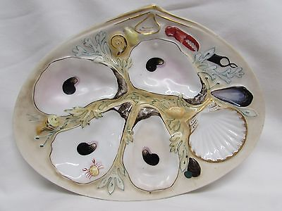 Antique 1881 Union Porcelan Works 4 shell oyster plate