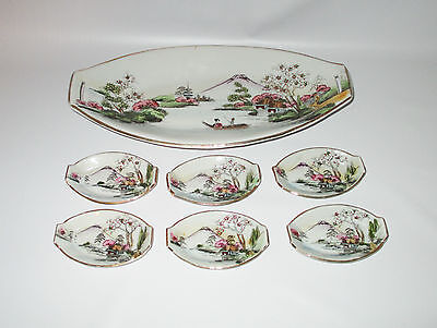 Sushi Porcelain Serving Plates 7 Piece Hand Painted Mt Fuji Lake Made in Japan