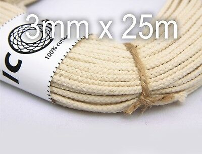Cotton Macrame Craft Cord 3mm 25m (27yds) - 100% Cotton Natural Braided Cord