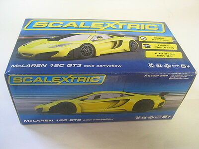 Scalextric C3662 Mclaren 12C Gt3 Yellow  Solo Car  Dpr Mint Boxed
