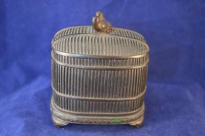 Japanese Bronze Box With Cover, Bird Cage Form - Meiji Period