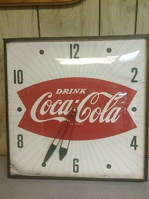 Vintage Fishtail Coca Cola Soda Pop Pam Advertising Clock With Glass Face